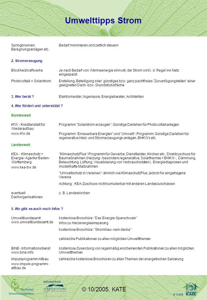 © 10/2005 © 10/2005, KATE Umwelttipps Strom Springbrunnen, Beregnungsanlagen etc.