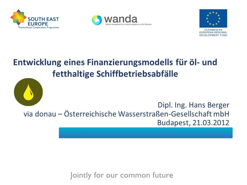 Inhalt der Präsentation Einführung Schiffsabfallwirtschaft entlang der Donau - Zusammenfassung Finanzierungsmodell für öl- und fetthaltige Schiffbetriebsabfälle (FM) –Prinzipien des FM –Bestandteile des FM –Das Straßburger Abfallübereinkommen –Szenarien für die Donauregion –Ergebnisse des WANDA Projektes Umsetzung der Ergebnisse
