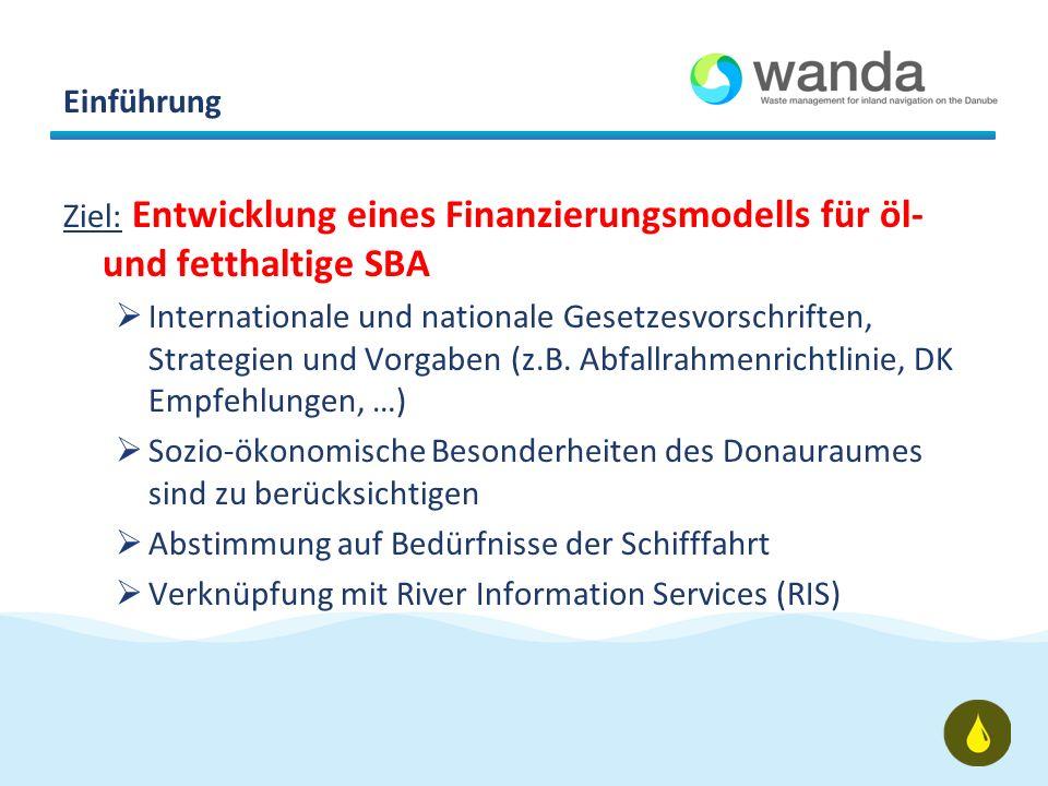 Einführung Ziel: Entwicklung eines Finanzierungsmodells für öl- und fetthaltige SBA Internationale und nationale Gesetzesvorschriften, Strategien und Vorgaben (z.B.