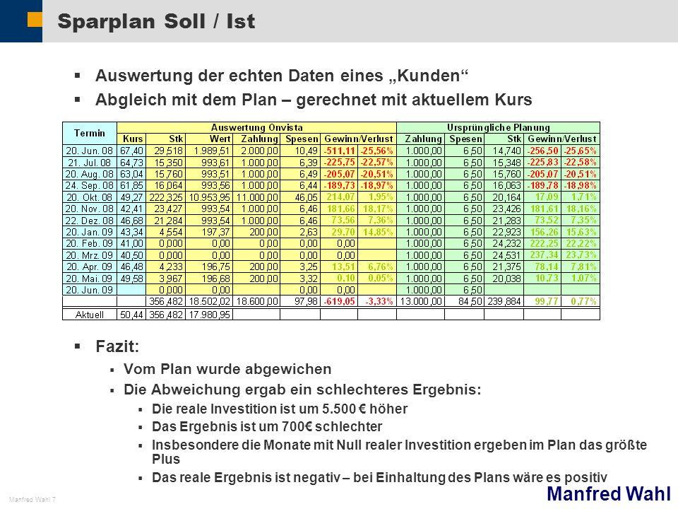 Manfred Wahl Manfred Wahl 7 Sparplan Soll / Ist Auswertung der echten Daten eines Kunden Abgleich mit dem Plan – gerechnet mit aktuellem Kurs Fazit: V