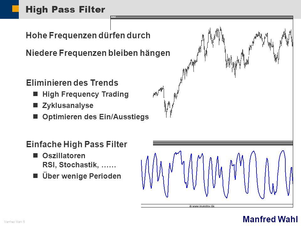 Manfred Wahl Manfred Wahl 5 High Pass Filter Hohe Frequenzen dürfen durch Niedere Frequenzen bleiben hängen Eliminieren des Trends High Frequency Trad