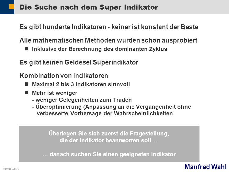 Manfred Wahl Manfred Wahl 9 Die Suche nach dem Super Indikator Es gibt hunderte Indikatoren - keiner ist konstant der Beste Alle mathematischen Method