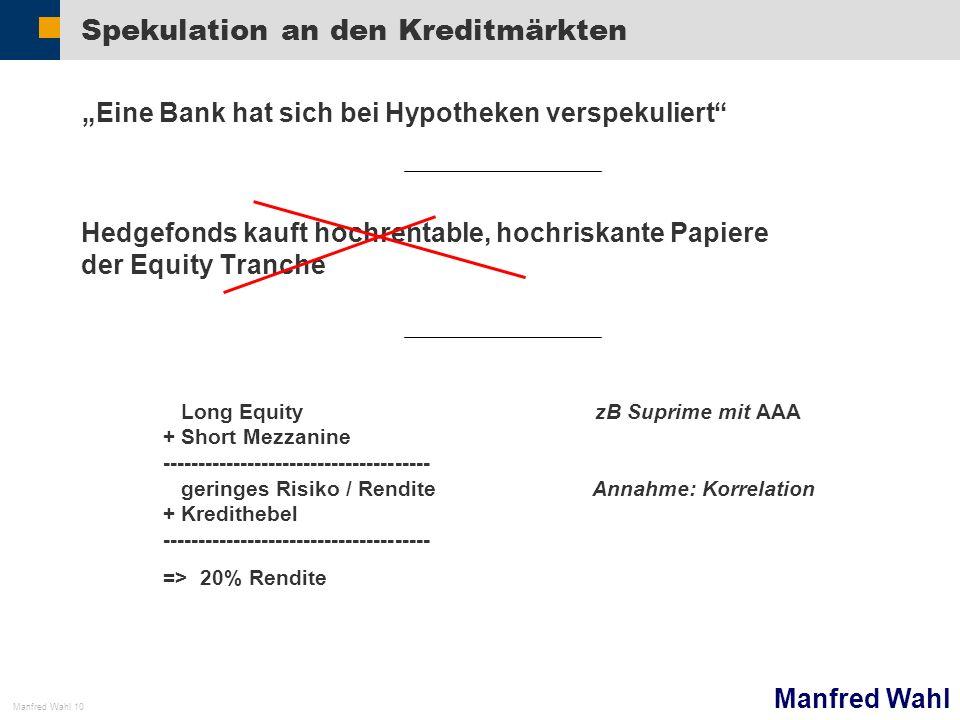 Manfred Wahl Manfred Wahl 10 Spekulation an den Kreditmärkten Eine Bank hat sich bei Hypotheken verspekuliert Hedgefonds kauft hochrentable, hochriska