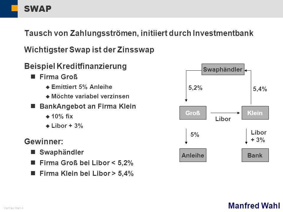 Manfred Wahl Manfred Wahl 4 SWAP Tausch von Zahlungsströmen, initiiert durch Investmentbank Wichtigster Swap ist der Zinsswap Beispiel Kreditfinanzier