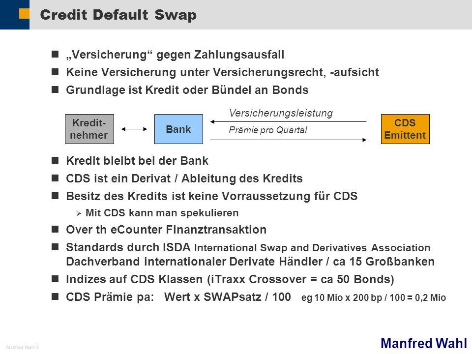 Manfred Wahl Manfred Wahl 6 Verbriefte Wertpapiere Jede Tranche Risiko Rating (zB AAA….) Rendite SPV Special Purpose Vehicle (unreguliert) Kredit Senior Mezzanine Equity Kredit Wertpapier Kredit Bank (Basel reguliert)