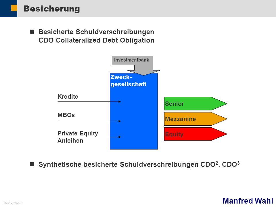 Manfred Wahl Manfred Wahl 7 Besicherung Besicherte Schuldverschreibungen CDO Collateralized Debt Obligation Synthetische besicherte Schuldverschreibun