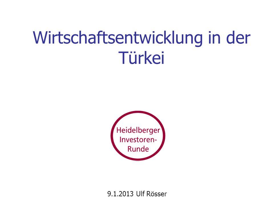 Wirtschaftsentwicklung in der Türkei 9.1.2013 Ulf Rösser