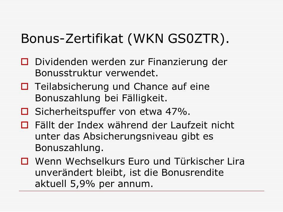 Bonus-Zertifikat (WKN GS0ZTR). Dividenden werden zur Finanzierung der Bonusstruktur verwendet. Teilabsicherung und Chance auf eine Bonuszahlung bei Fä