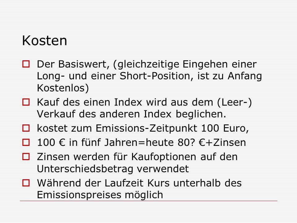 Kosten Der Basiswert, (gleichzeitige Eingehen einer Long- und einer Short-Position, ist zu Anfang Kostenlos) Kauf des einen Index wird aus dem (Leer-)