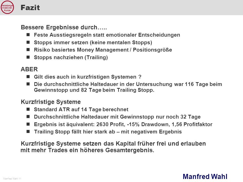 Manfred Wahl Manfred Wahl 11 Heidelberger Investoren- Runde Fazit Bessere Ergebnisse durch….. Feste Ausstiegsregeln statt emotionaler Entscheidungen S