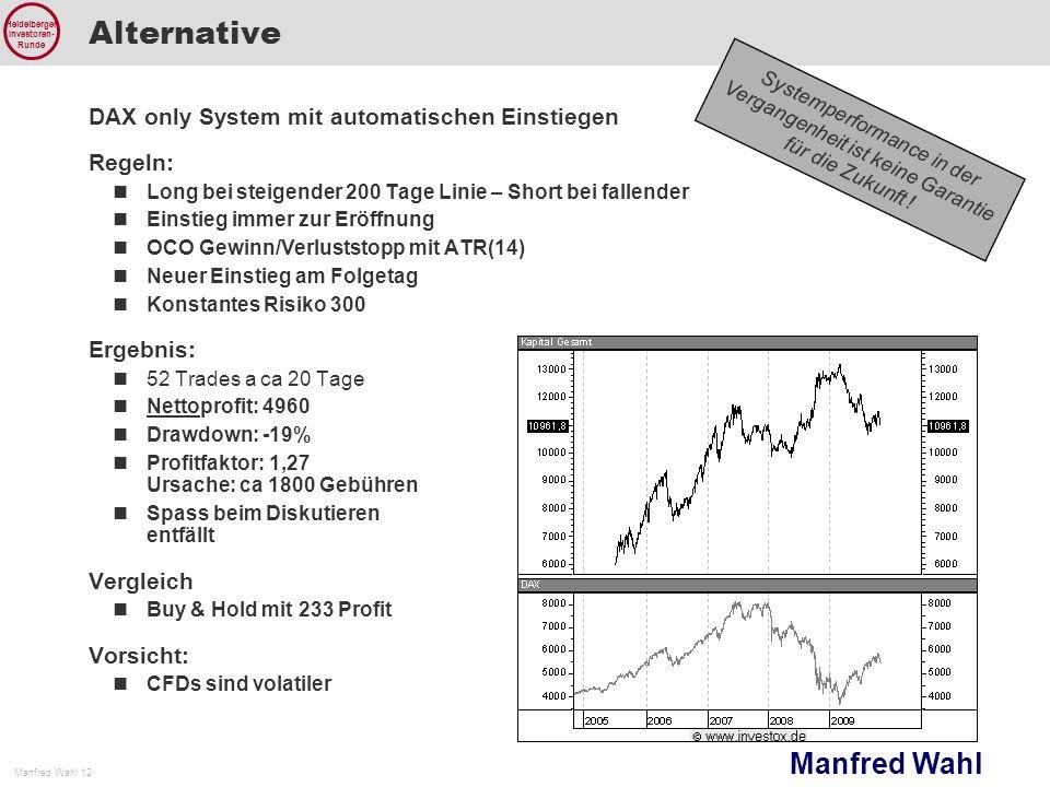 Manfred Wahl Manfred Wahl 12 Heidelberger Investoren- Runde Systemperformance in der Vergangenheit ist keine Garantie für die Zukunft ! Alternative DA