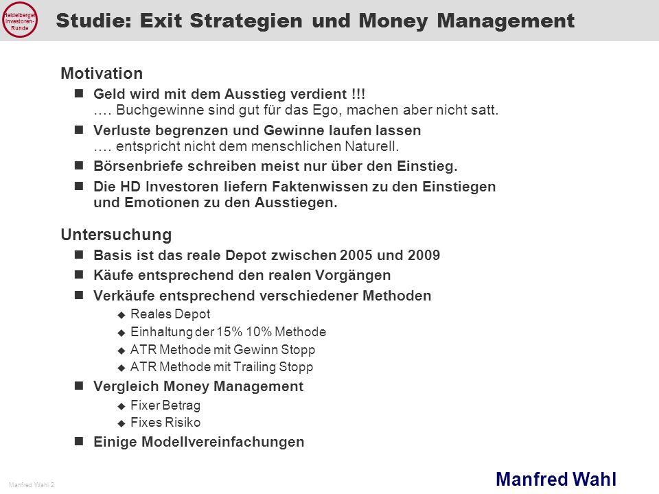 Manfred Wahl Manfred Wahl 2 Heidelberger Investoren- Runde Studie: Exit Strategien und Money Management Motivation Geld wird mit dem Ausstieg verdient