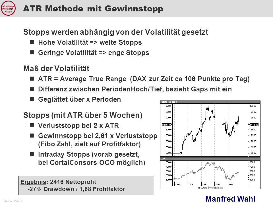 Manfred Wahl Manfred Wahl 7 Heidelberger Investoren- Runde ATR Methode mit Gewinnstopp Stopps werden abhängig von der Volatilität gesetzt Hohe Volatil