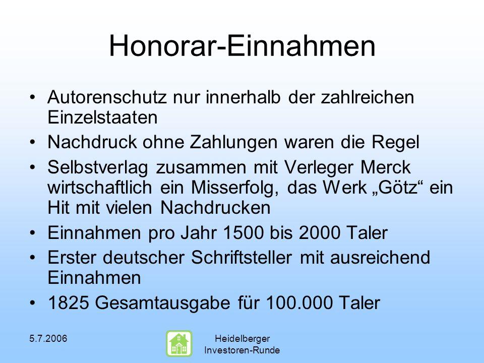 5.7.2006Heidelberger Investoren-Runde Honorar-Einnahmen Autorenschutz nur innerhalb der zahlreichen Einzelstaaten Nachdruck ohne Zahlungen waren die R