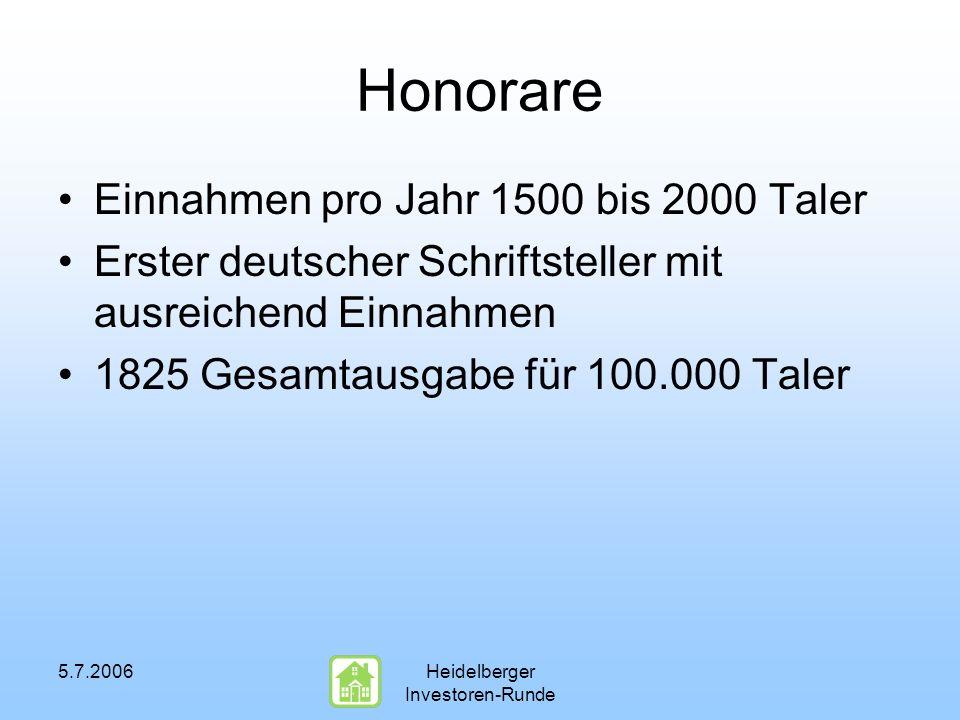5.7.2006Heidelberger Investoren-Runde Honorare Einnahmen pro Jahr 1500 bis 2000 Taler Erster deutscher Schriftsteller mit ausreichend Einnahmen 1825 Gesamtausgabe für 100.000 Taler