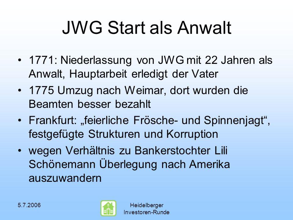 5.7.2006Heidelberger Investoren-Runde JWG Start als Anwalt 1771: Niederlassung von JWG mit 22 Jahren als Anwalt, Hauptarbeit erledigt der Vater 1775 U