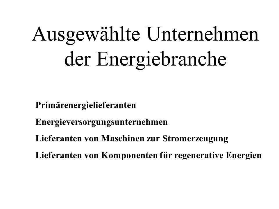 Ausgewählte Unternehmen der Energiebranche Primärenergielieferanten Energieversorgungsunternehmen Lieferanten von Maschinen zur Stromerzeugung Liefera