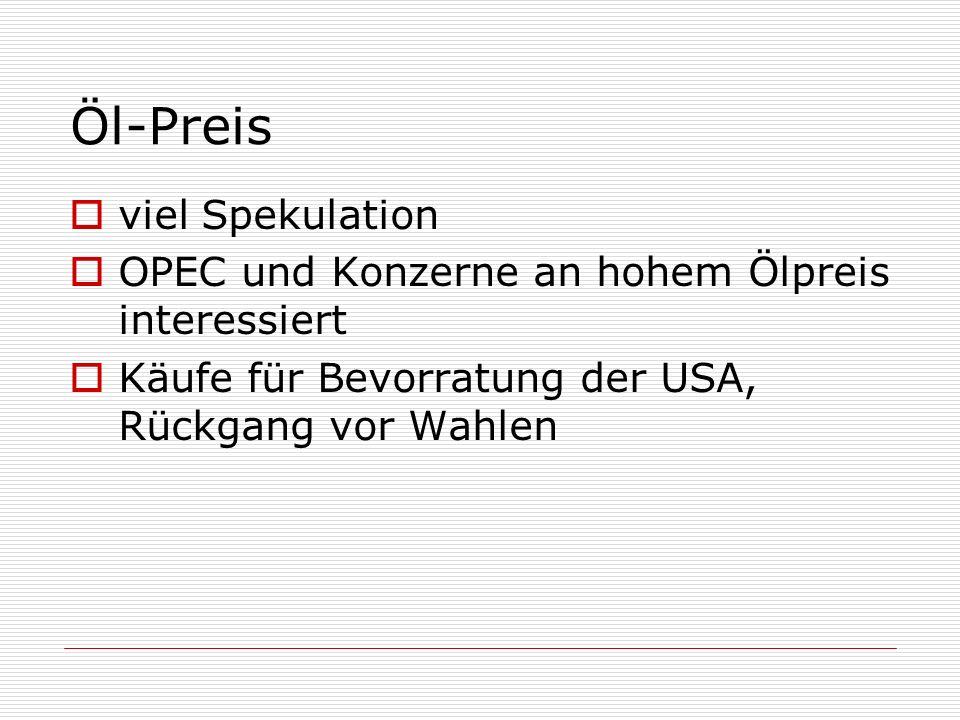 Öl-Preis viel Spekulation OPEC und Konzerne an hohem Ölpreis interessiert Käufe für Bevorratung der USA, Rückgang vor Wahlen