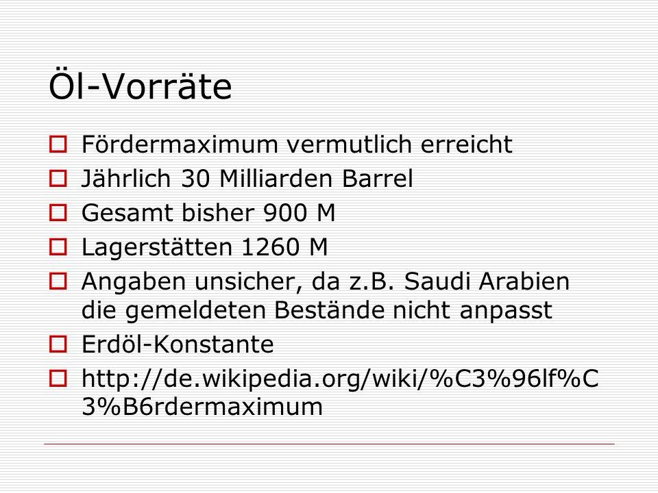 Öl-Vorräte Fördermaximum vermutlich erreicht Jährlich 30 Milliarden Barrel Gesamt bisher 900 M Lagerstätten 1260 M Angaben unsicher, da z.B. Saudi Ara