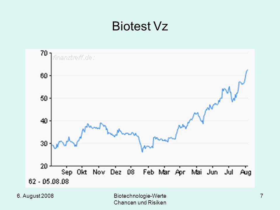6. August 2008Biotechnologie-Werte Chancen und Risiken 7 Biotest Vz