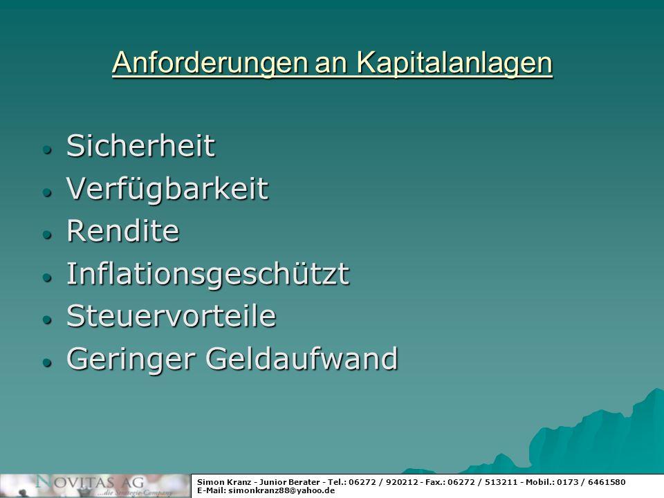 Beispiel für die Wertenwicklung Simon Kranz - Junior Berater - Tel.: 06272 / 920212 - Fax.: 06272 / 513211 - Mobil.: 0173 / 6461580 E-Mail: simonkranz88@yahoo.de