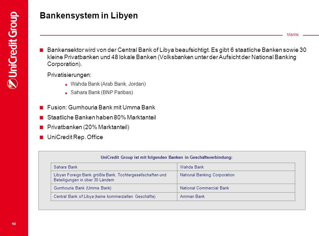 Bankensektor wird von der Central Bank of Libya beaufsichtigt. Es gibt 6 staatliche Banken sowie 30 kleine Privatbanken und 48 lokale Banken (Volksban