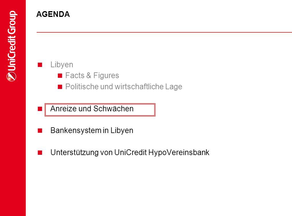 AGENDA Libyen Facts & Figures Politische und wirtschaftliche Lage Anreize und Schwächen Bankensystem in Libyen Unterstützung von UniCredit HypoVereins