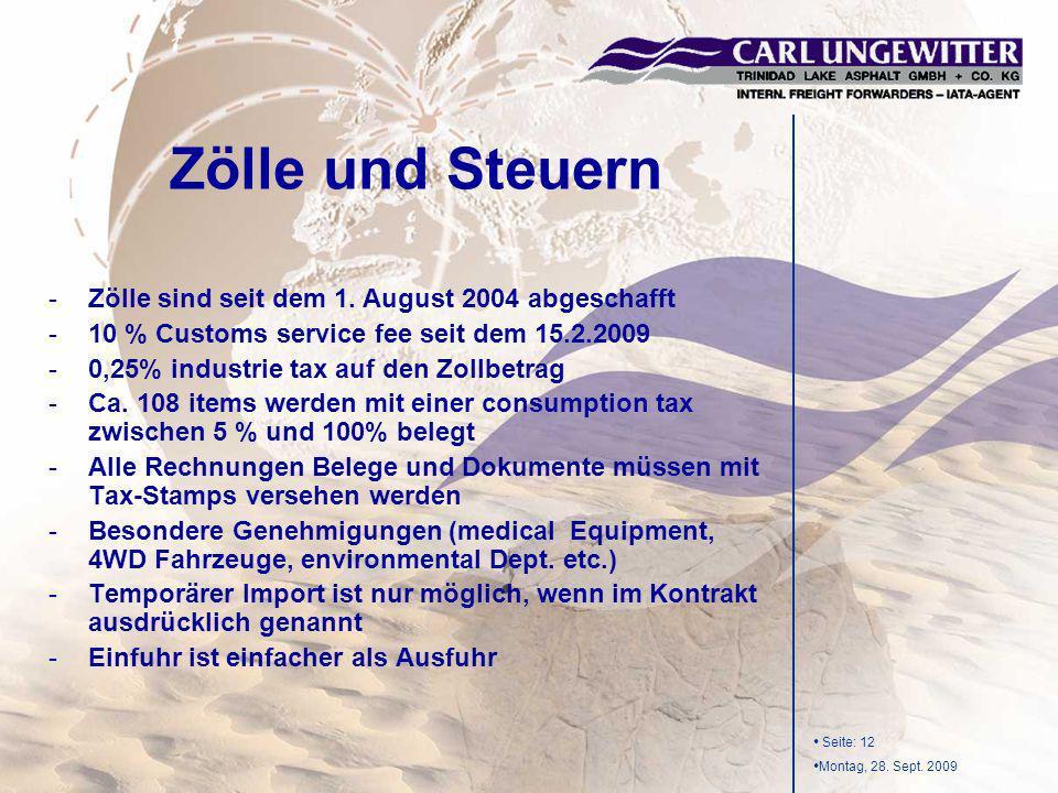 Seite: 12 Montag, 28. Sept. 2009 -Zölle sind seit dem 1. August 2004 abgeschafft -10 % Customs service fee seit dem 15.2.2009 -0,25% industrie tax auf