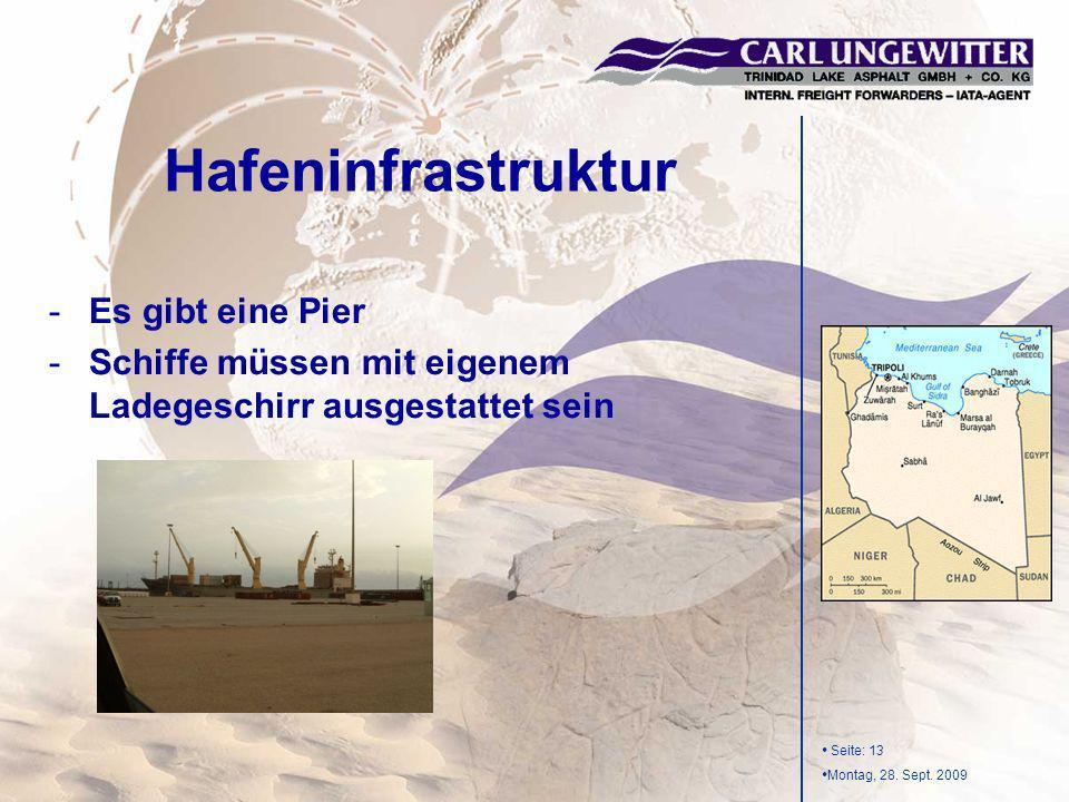 Seite: 13 Montag, 28. Sept. 2009 -Es gibt eine Pier -Schiffe müssen mit eigenem Ladegeschirr ausgestattet sein Hafeninfrastruktur