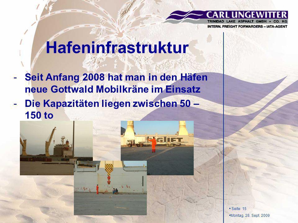 Seite: 15 Montag, 28. Sept. 2009 -Seit Anfang 2008 hat man in den Häfen neue Gottwald Mobilkräne im Einsatz -Die Kapazitäten liegen zwischen 50 – 150