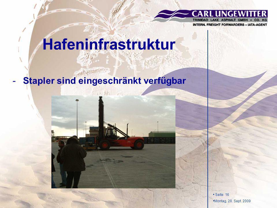 Seite: 16 Montag, 28. Sept. 2009 -Stapler sind eingeschränkt verfügbar Hafeninfrastruktur