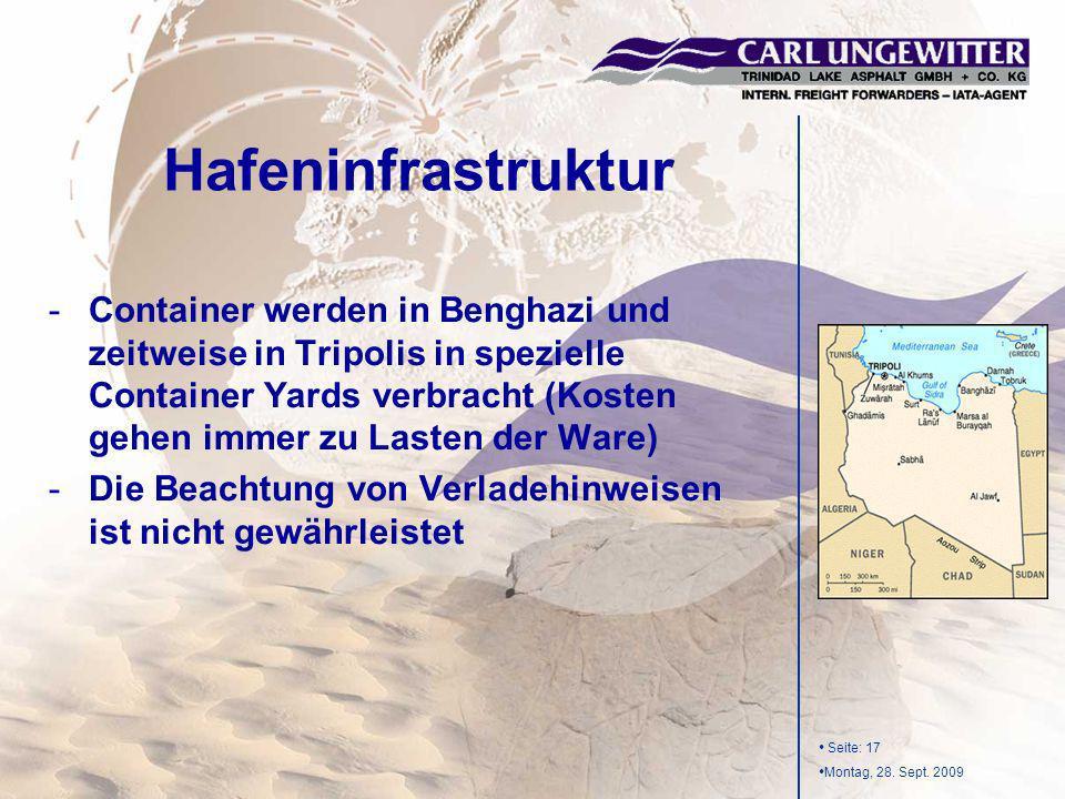 Seite: 17 Montag, 28. Sept. 2009 -Container werden in Benghazi und zeitweise in Tripolis in spezielle Container Yards verbracht (Kosten gehen immer zu