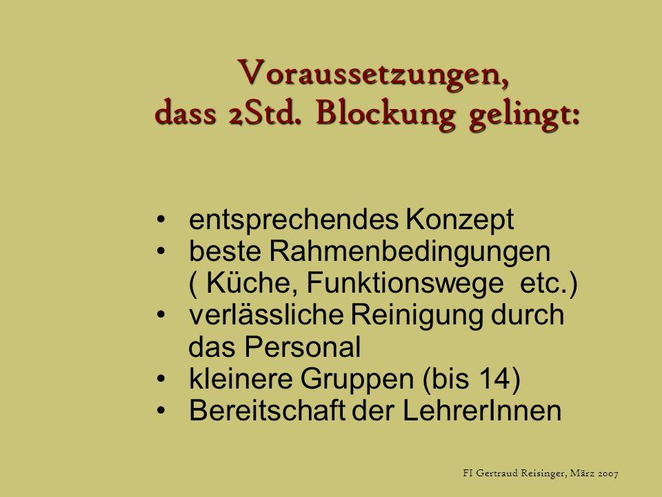 FI Gertraud Reisinger, März 2007 Voraussetzungen, dass 2Std. Blockung gelingt: dass 2Std. Blockung gelingt: entsprechendes Konzept beste Rahmenbedingu