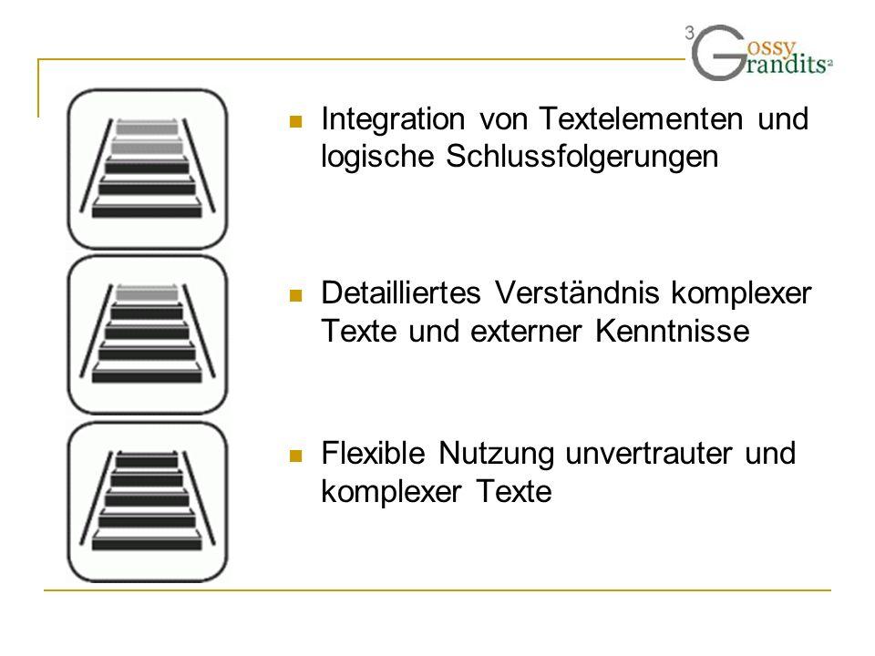Integration von Textelementen und logische Schlussfolgerungen Detailliertes Verständnis komplexer Texte und externer Kenntnisse Flexible Nutzung unver