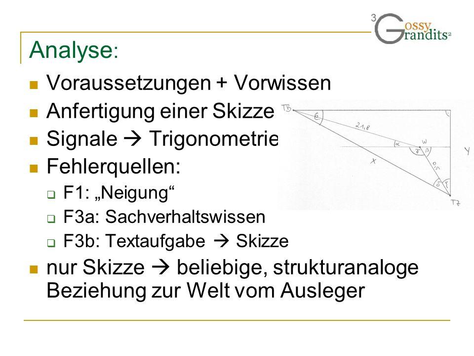 Analyse : Voraussetzungen + Vorwissen Anfertigung einer Skizze Signale Trigonometrie Fehlerquellen: F1: Neigung F3a: Sachverhaltswissen F3b: Textaufga