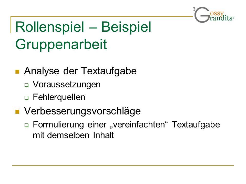 Rollenspiel – Beispiel Gruppenarbeit Analyse der Textaufgabe Voraussetzungen Fehlerquellen Verbesserungsvorschläge Formulierung einer vereinfachten Te