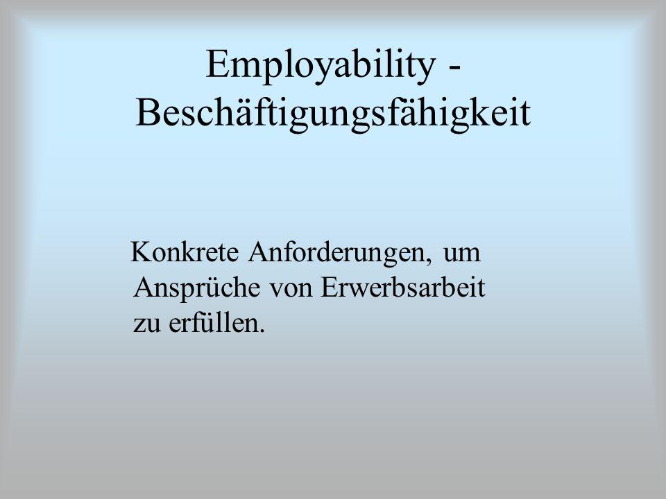 Employability - Beschäftigungsfähigkeit Konkrete Anforderungen, um Ansprüche von Erwerbsarbeit zu erfüllen.