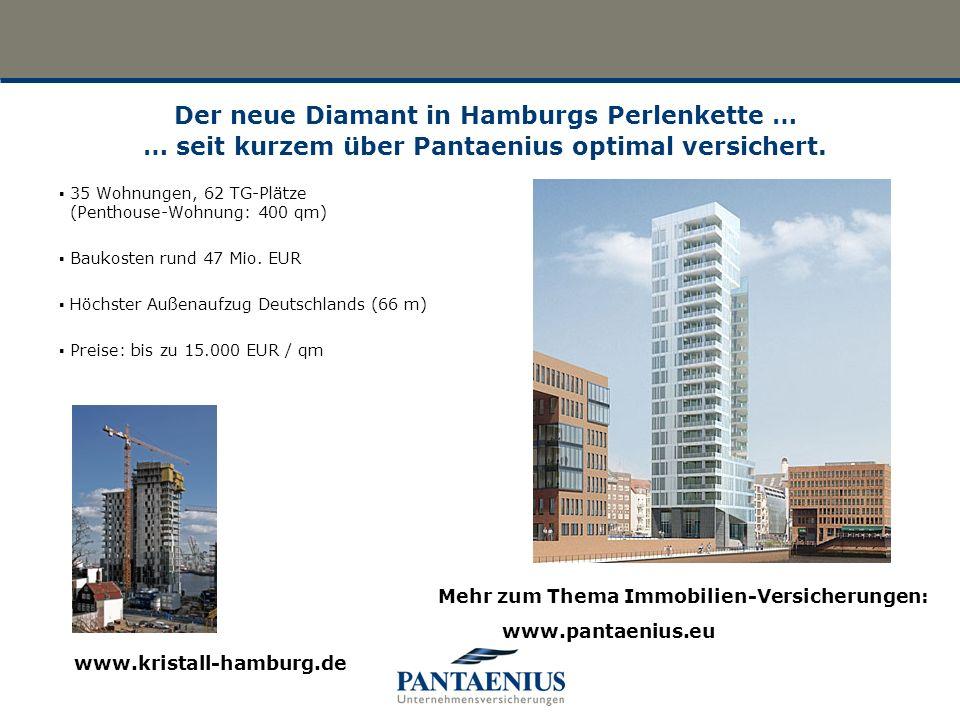 Der neue Diamant in Hamburgs Perlenkette … … seit kurzem über Pantaenius optimal versichert. 35 Wohnungen, 62 TG-Plätze (Penthouse-Wohnung: 400 qm) Ba