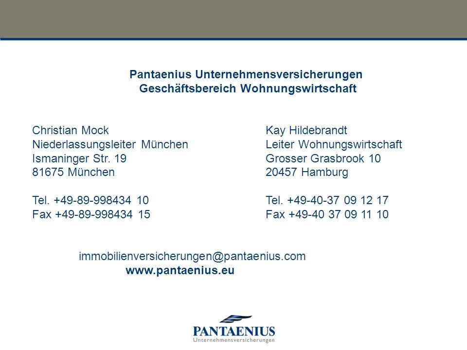 Pantaenius Unternehmensversicherungen Geschäftsbereich Wohnungswirtschaft Christian MockKay Hildebrandt Niederlassungsleiter München Leiter Wohnungswi