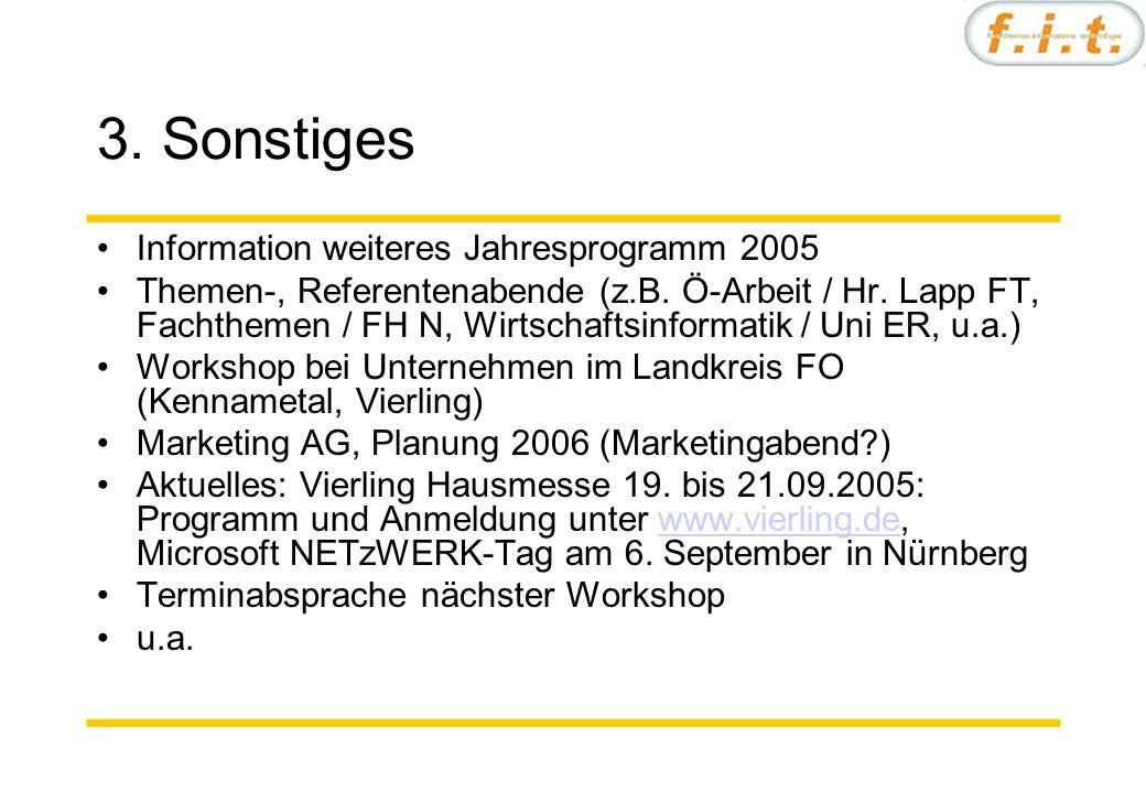3. Sonstiges Information weiteres Jahresprogramm 2005 Themen-, Referentenabende (z.B.