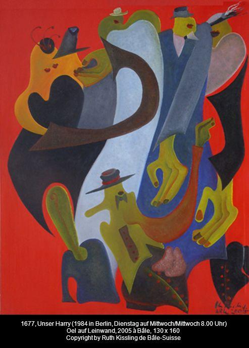 1677, Unser Harry (1984 in Berlin, Dienstag auf Mittwoch/Mittwoch 8.00 Uhr) Oel auf Leinwand, 2005 à Bâle, 130 x 160 Copyright by Ruth Kissling de Bâle-Suisse
