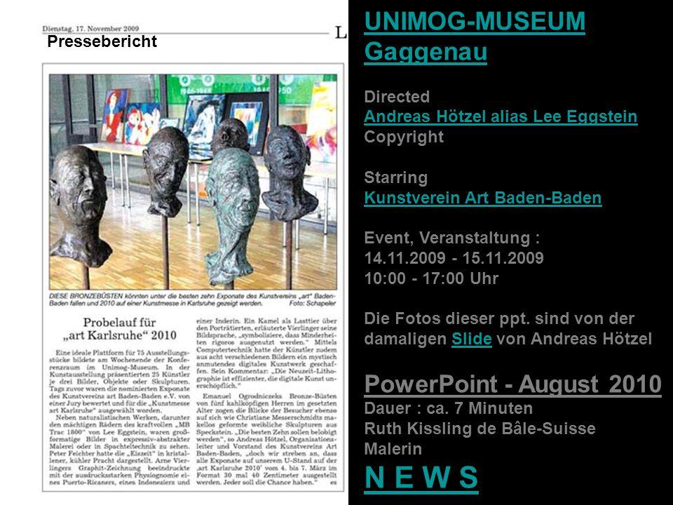 UNIMOG-MUSEUM Gaggenau Directed Andreas Hötzel alias Lee Eggstein Copyright Starring Kunstverein Art Baden-Baden Event, Veranstaltung : 14.11.2009 - 1