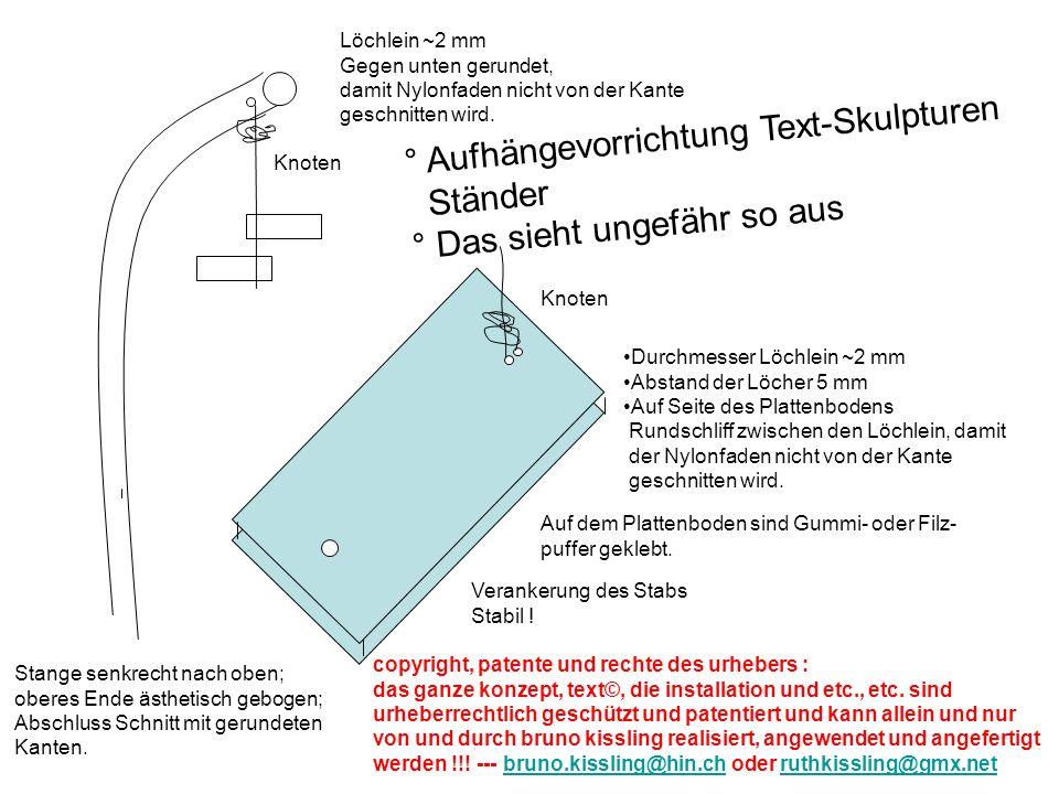 Durchmesser Löchlein ~2 mm Abstand der Löcher 5 mm Auf Seite des Plattenbodens Rundschliff zwischen den Löchlein, damit der Nylonfaden nicht von der Kante geschnitten wird.