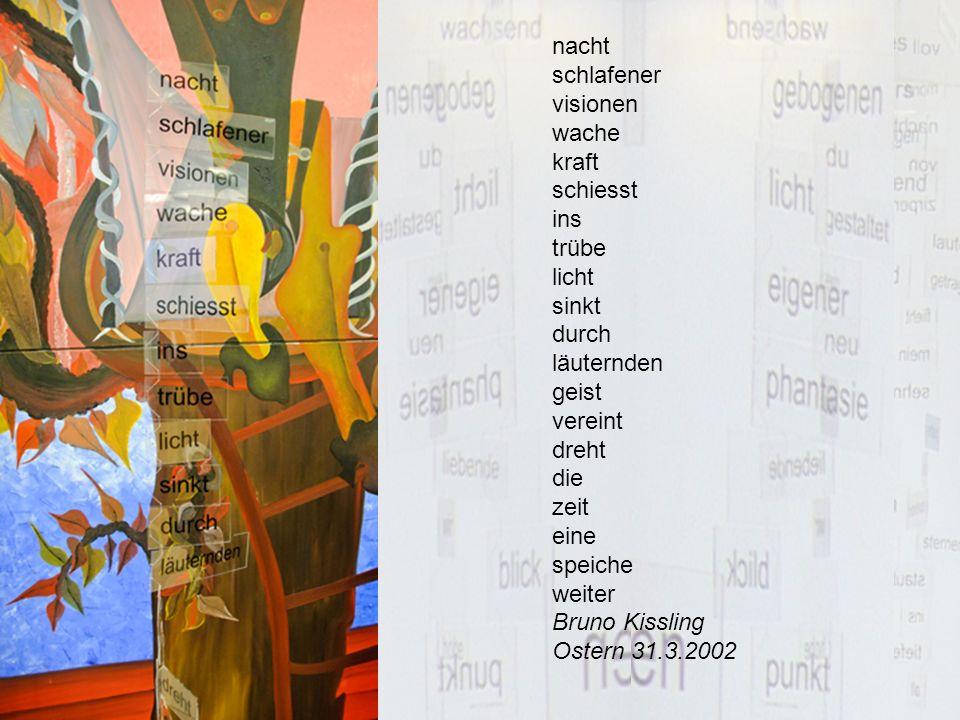 dichte texte skulpturen mit¨ worten auf plexiglas gespannt mit einem nylon faden zwischen der decke und einem vier kilogramm schweren metall kubus bruno kissling weststrasse 25 3005 bern 031 351 33 07 p 031 352 48 50 g bruno.kissling@hin.ch WEB von Bruno Kissling Patente und Rechte des Urhebers Das ganze Konztept, Installation und Text und etc., etc.sind urheberrechtlich geschützt und patentiert und kann allein und nur von und durch Bruno Kissling realisiert, angewendet und angefertigt werden !!.