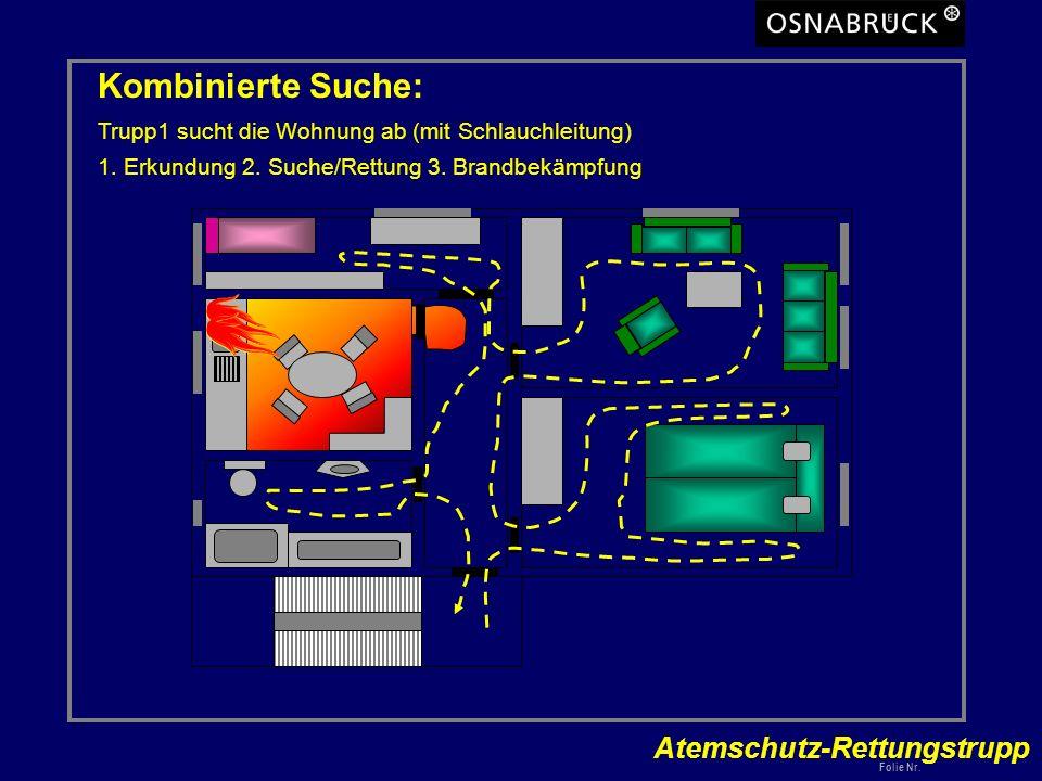 Atemschutz-Rettungstrupp Folie Nr. Kombinierte Suche: Trupp1 sucht die Wohnung ab (mit Schlauchleitung) 1. Erkundung 2. Suche/Rettung 3. Brandbekämpfu