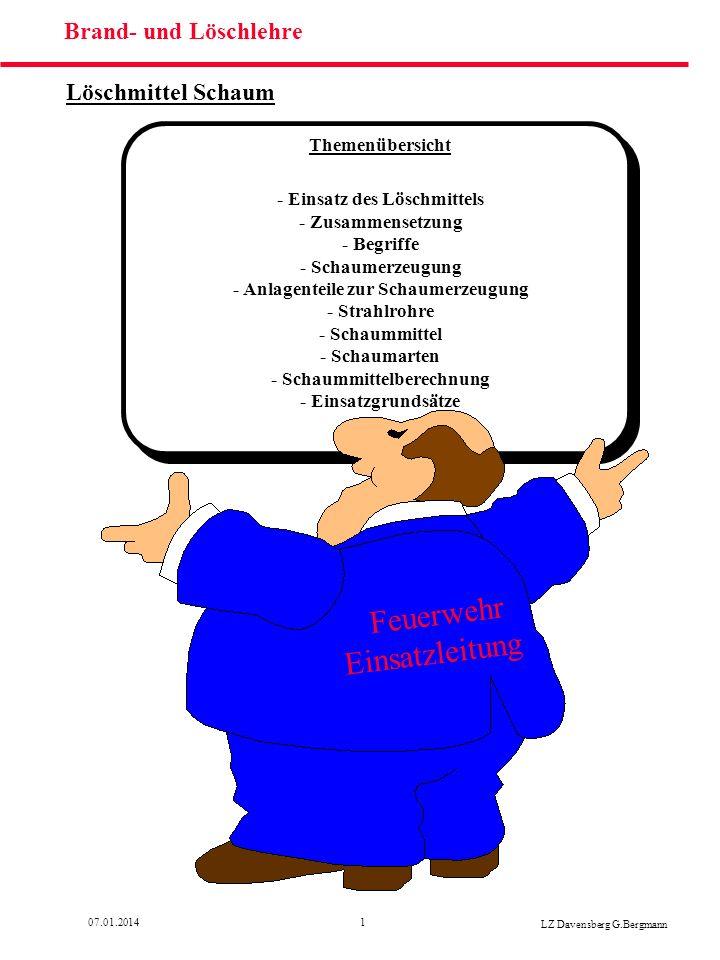 1207.01.2014 LZ Davensberg G.Bergmann Löschmittel Schaum Schaummittel Mehrbereichs- schaummittelDas Mehrbereichsschaummittel kann zur Herstellung aller Schaumarten verwendet werden.