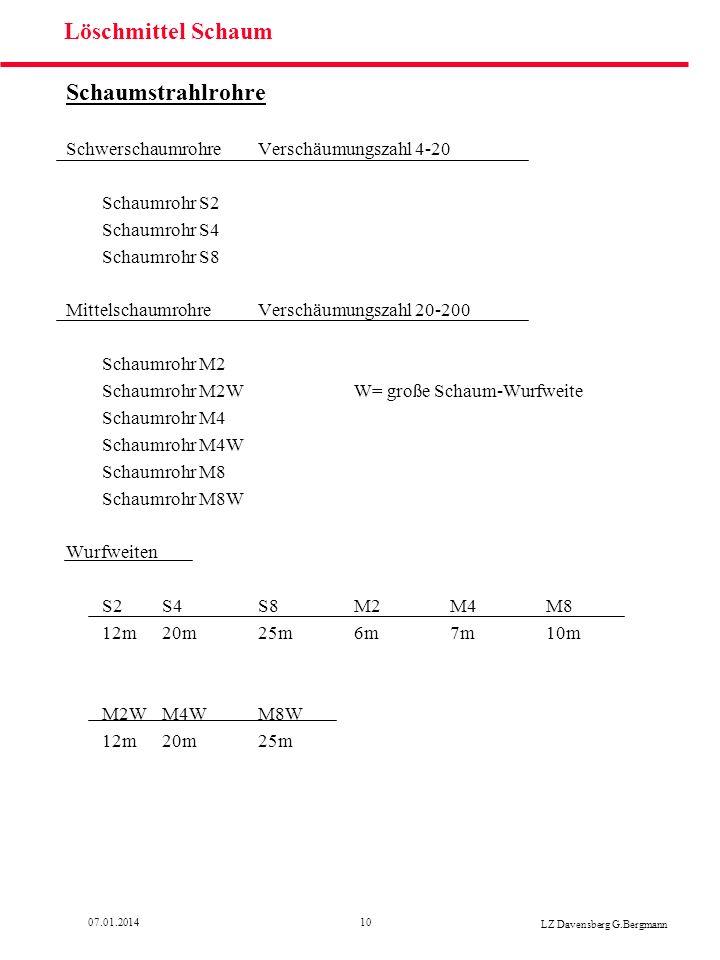 1007.01.2014 LZ Davensberg G.Bergmann Löschmittel Schaum Schaumstrahlrohre SchwerschaumrohreVerschäumungszahl 4-20 Schaumrohr S2 Schaumrohr S4 Schaumr