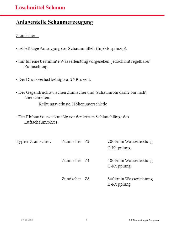 1907.01.2014 LZ Davensberg G.Bergmann Löschmittel Schaum Schaummittelberechnung Beispiel 3 Fahrzeug LF 16 Z = 3 Prozent VZ= 10 Schaumrohr S4 (400 l/min) Wie lange kann Schaum erzeugt werden.