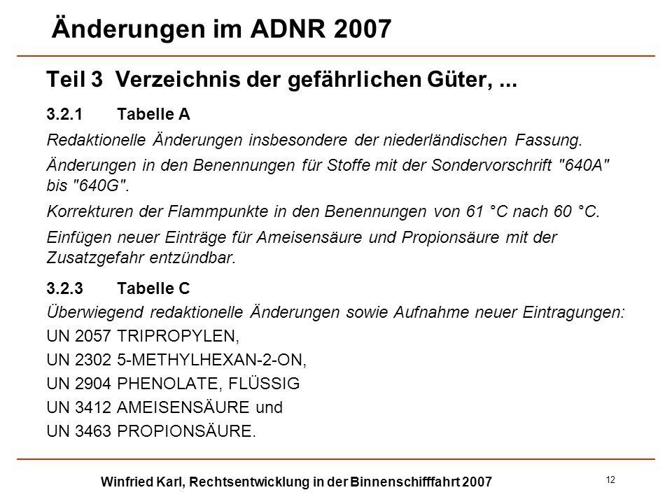 Winfried Karl, Rechtsentwicklung in der Binnenschifffahrt 2007 12 Änderungen im ADNR 2007 Teil 3 Verzeichnis der gefährlichen Güter,... 3.2.1Tabelle A