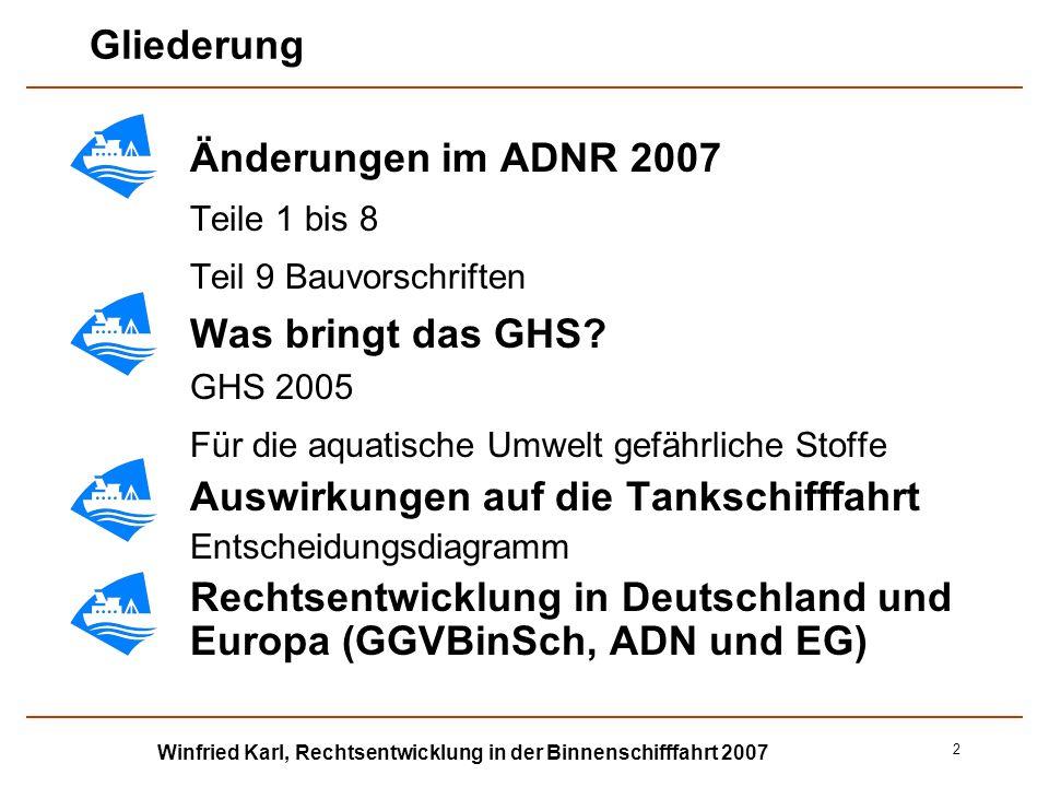 Winfried Karl, Rechtsentwicklung in der Binnenschifffahrt 2007 2 Gliederung Änderungen im ADNR 2007 Teile 1 bis 8 Teil 9 Bauvorschriften Was bringt da